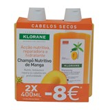 klorane pack shampoo with mango butter for dry hair 2x400ml