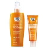 roc pack soleil protexion fluído antimanchas spf50 50ml + leite de corpo spf30 200ml