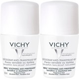 vichy déo antiperspirant 48h sensitive or depilated skin 2x50ml