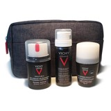 vichy coffret homme structure s 50ml + deo roll-on 50ml + mousse barbear 50ml + bolsa