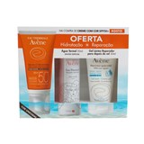kit creme solar com cor spf50  50ml oferta gel lácteo 50ml + água termal 50ml