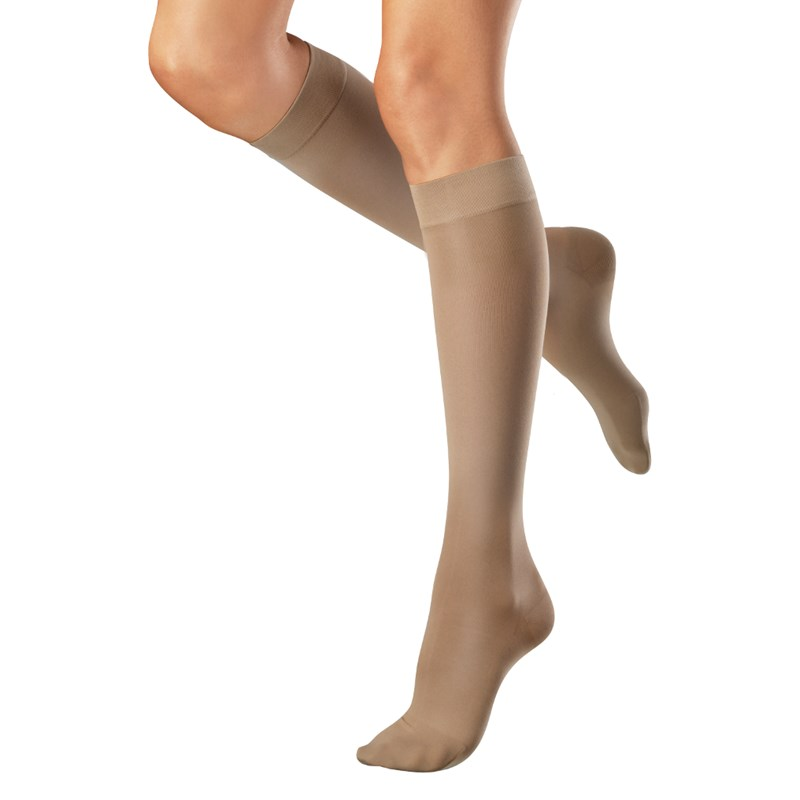 how to put on elastic compression stockings
