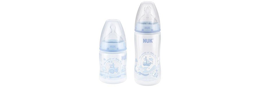 nuk first choice baby blue biberao em silicone