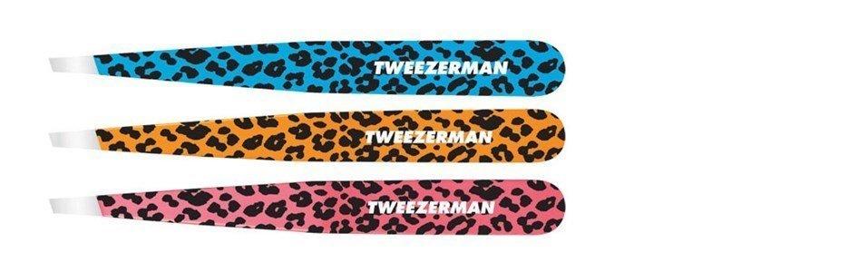 tweezerman slant tweezer safari cheetah orange