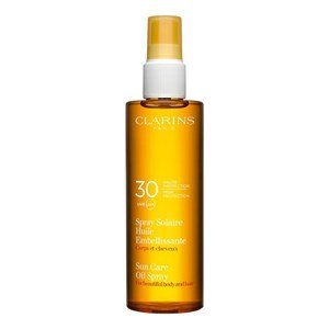 clarins spray solaire huile embellissante faible protection