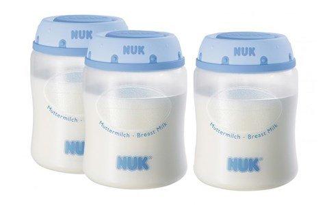 nuk conjunto 3 recipientes leite materno